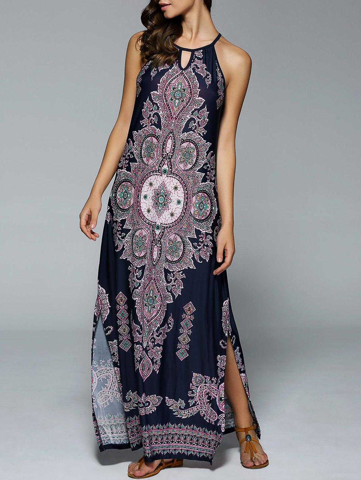 maxi dresses ... bohemian side slit tribal maxi dress - purplish blue xl ... QLBFHKB