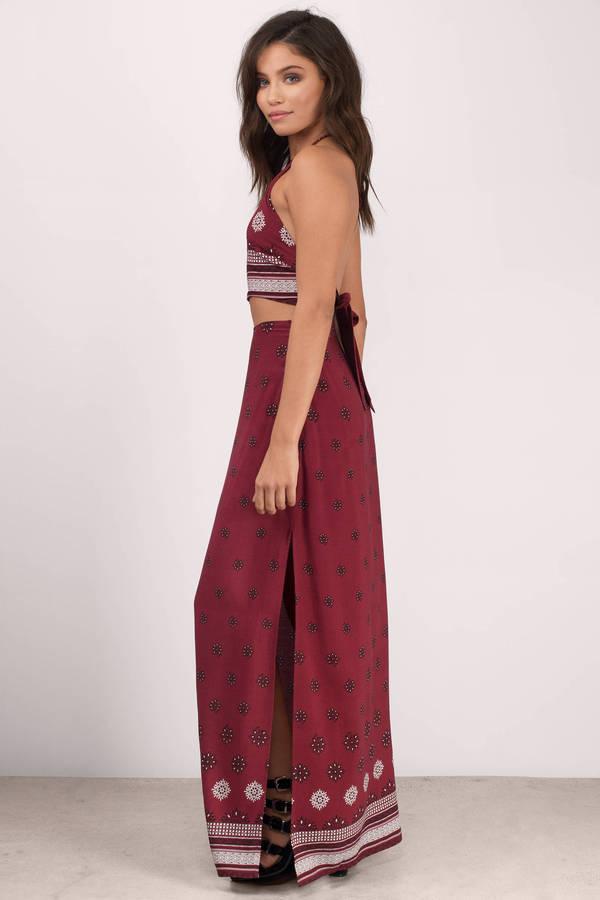 maxi skirts ... takes time wine print maxi skirt ... SUJVZQW