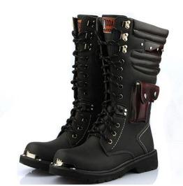 men boots menu0027s punk pocket lace up faux leather army boots riding boots moto boots BQADGZL