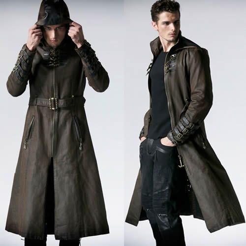 men brown leather hooded steampunk goth military trench coat overcoat  sku-11401241 | victorian gothic XDOLQYS