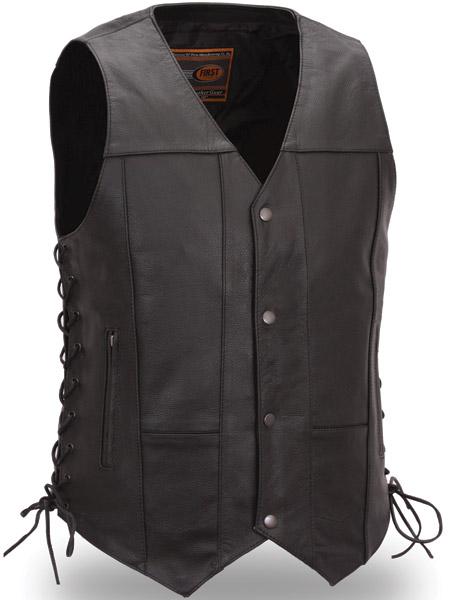menu0027s 10 pocket leather vest ESDMVYQ