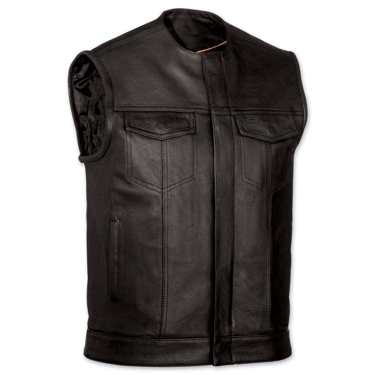 menu0027s collarless mc black leather vest ... ZHMFIKX