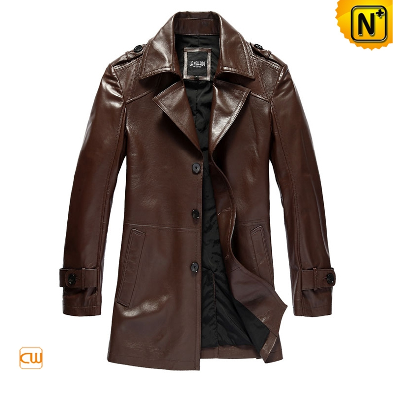 menu0027s leather coats fashion slim epaulets brown leather dust coat cw861561 DSTWYTX