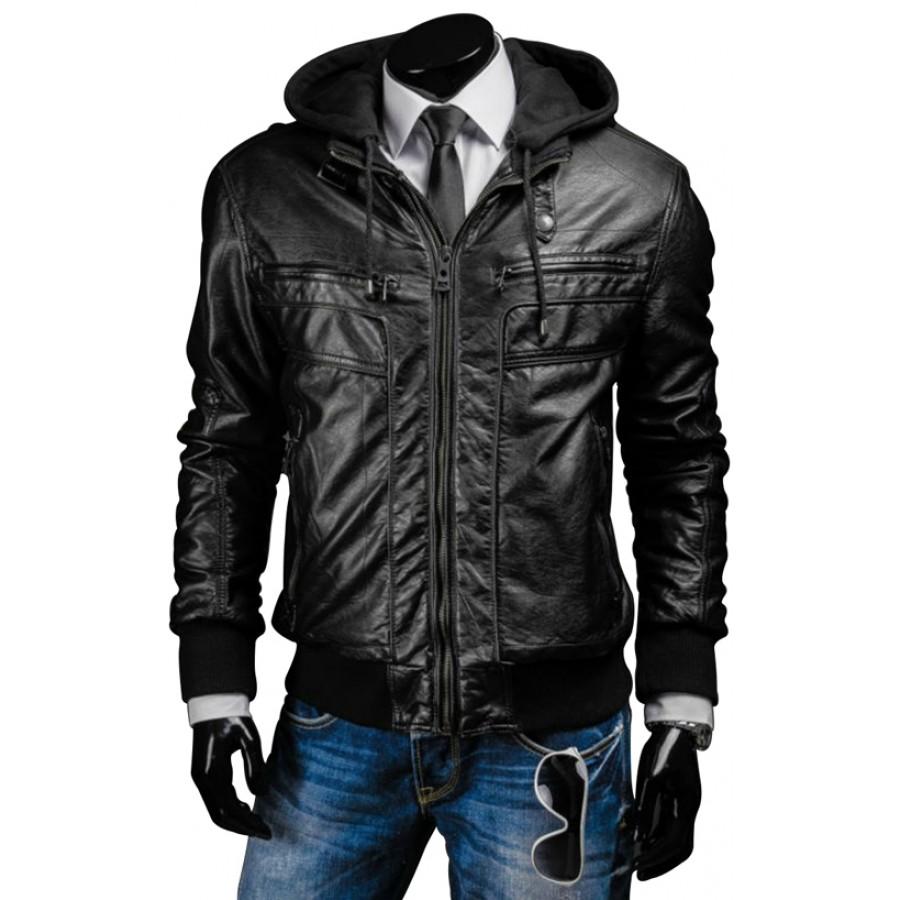 menu0027s slim fit black leather jacket with hood PRQXMBP