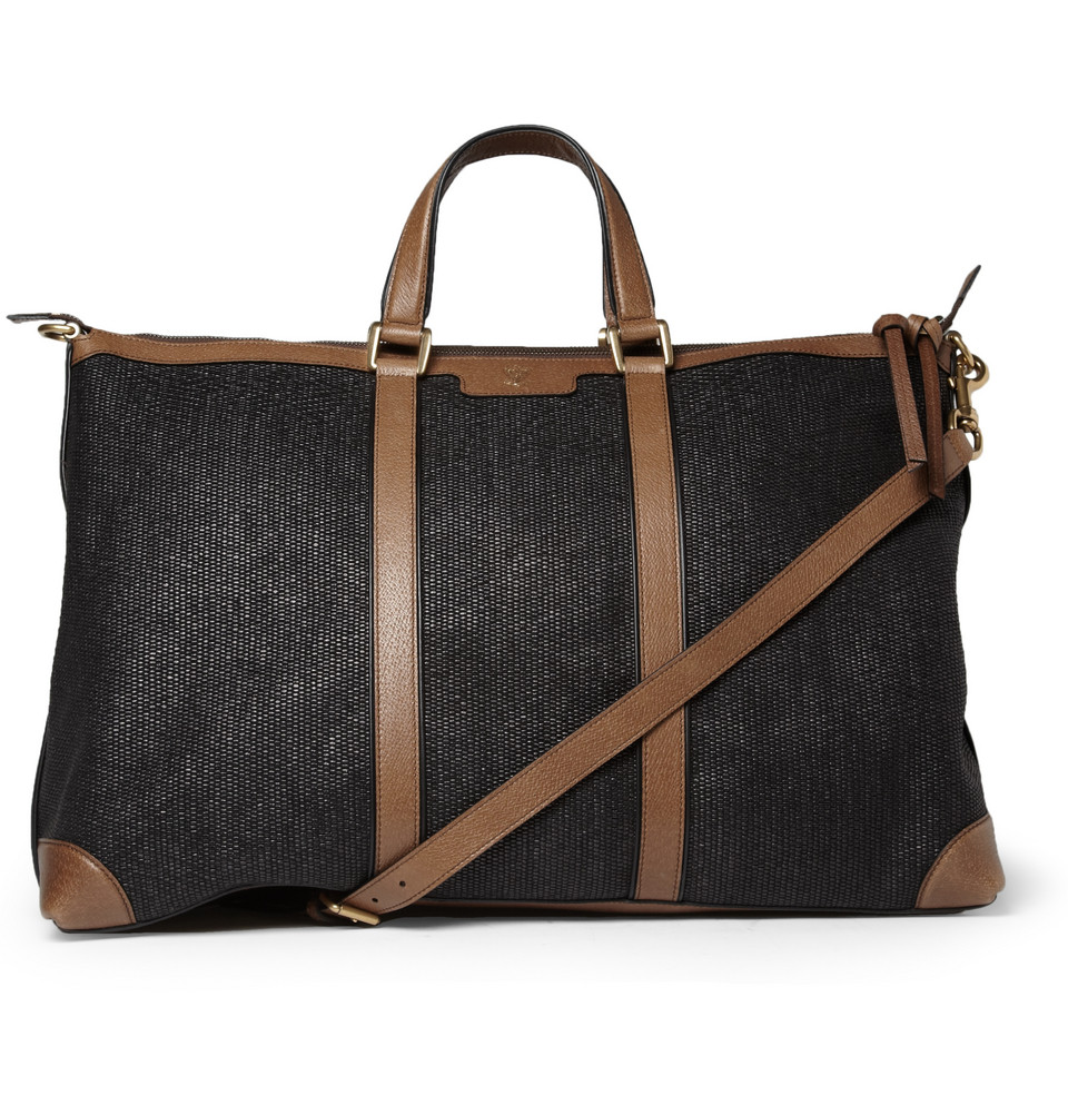 mens bags gucci menu0027s leather and raffia holdall CFVNIPI