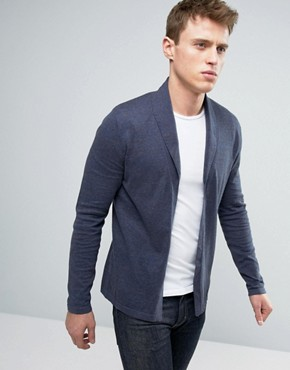 mens cardigans asos open shawl cardigan in navy twist cotton COYDIGO
