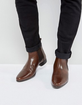 mens chelsea boots asos chelsea boots in brown leather with back pull ITWFGWS