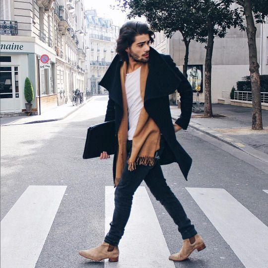 mens chelsea boots moda trends magazine men style coat jeans chelsea boots BGIMGNQ