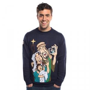 mens christmas jumpers baby jesus selfie jumper SFZBZYA
