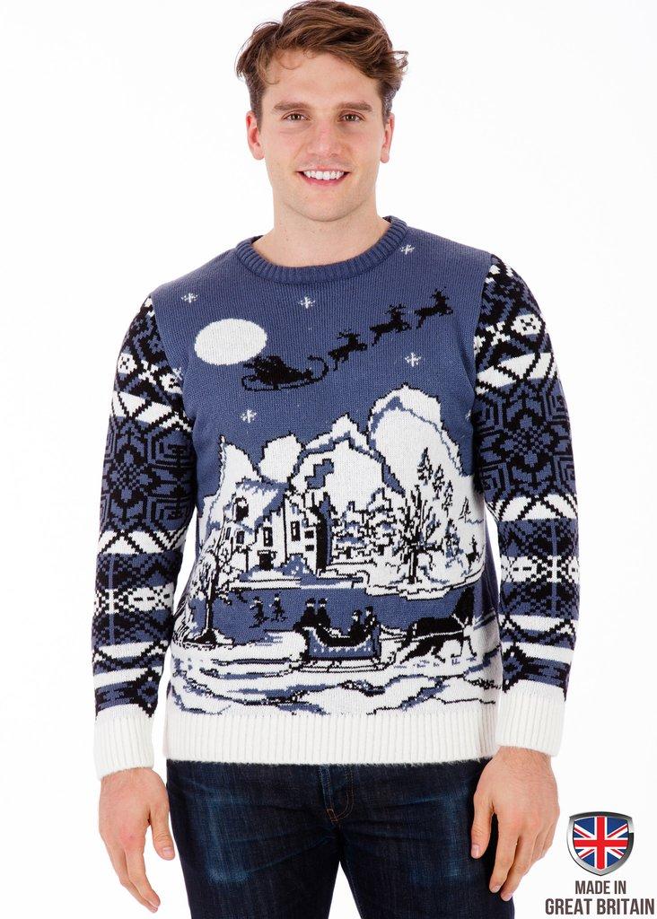 mens christmas jumpers ... christmas wonderland - mens christmas jumper - british christmas jumpers  ... CBVNGSX