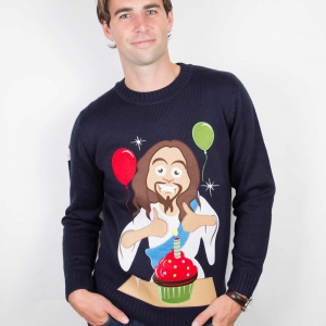 mens christmas jumpers happy birthday jesus SBXDGWN
