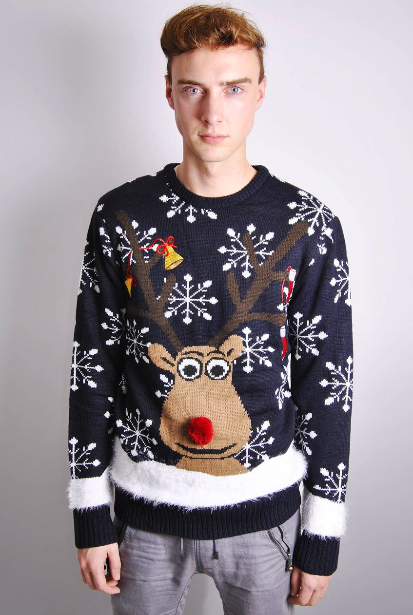 mens christmas jumpers mens novelty rudolph christmas jumper UGZGRTH