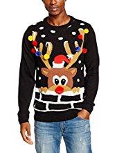 mens christmas jumpers the christmas workshop menu0027s wot no reindeer long sleeve 3d jumper GFKUQGM