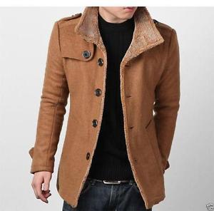 mens coats image is loading fashion-mens-coats-wool-peacoat-slim-winter-trench- IEKSGJX
