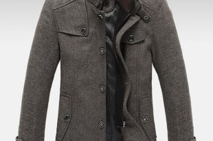 mens coats knitted stand collar wool blend tweed coats long jackets OPFZOOH