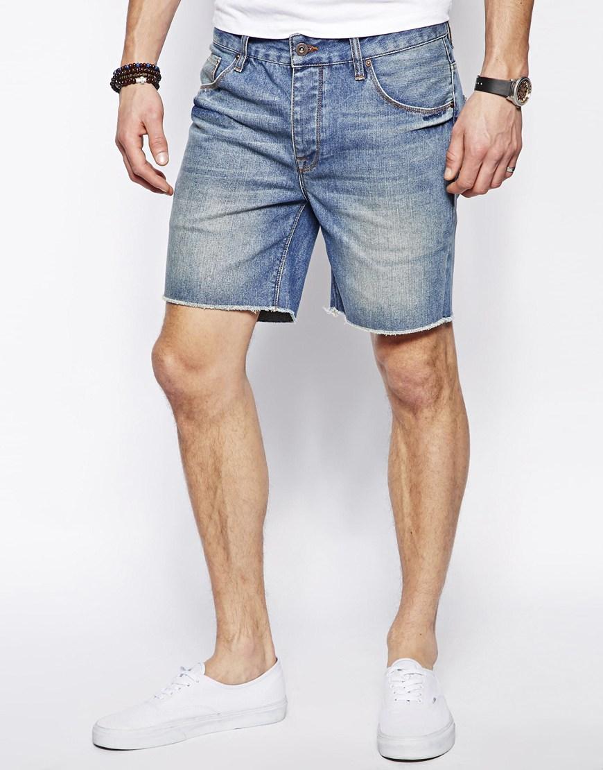 mens denim shorts asos-denim-shorts-in-cut-off-style 2 HMVADNI