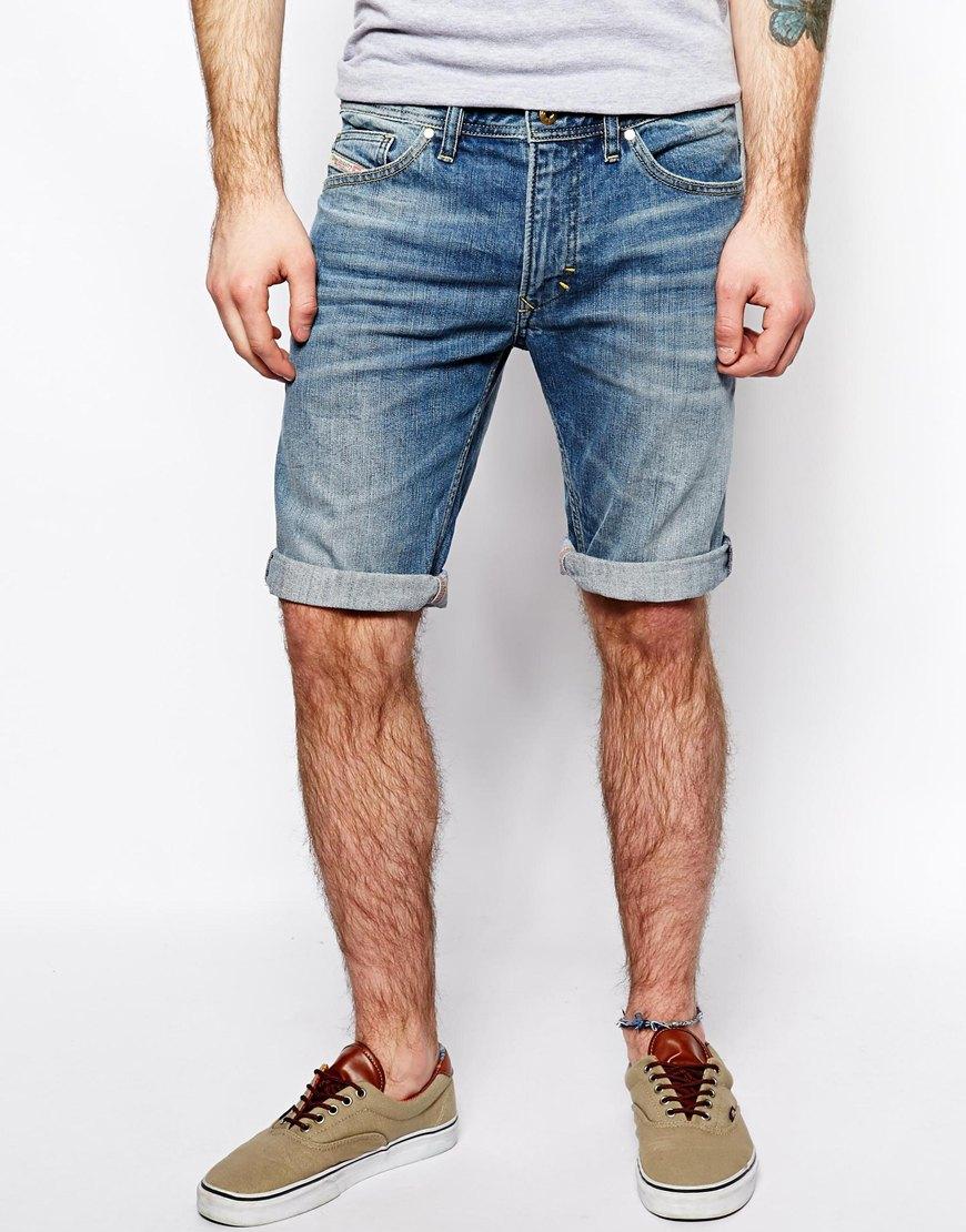 mens denim shorts diesel-denim-shorts-thavar-slim-fit GOPOWKE