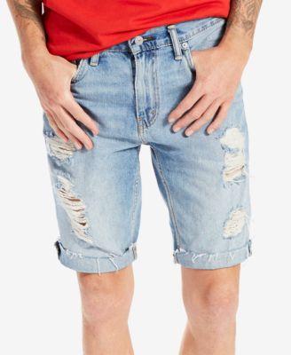 mens denim shorts leviu0027s® menu0027s 511 slim-fit cutoff ripped jean shorts XIYZQWL