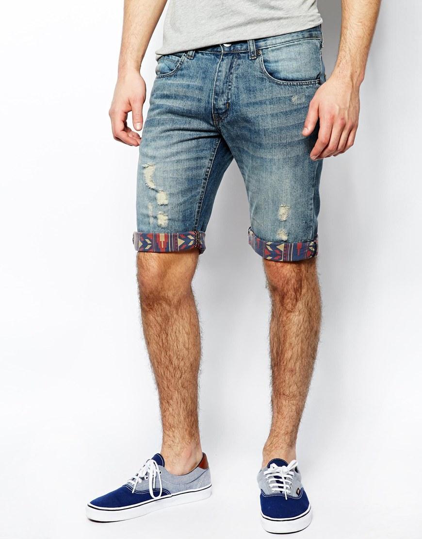 mens denim shorts new look denim shorts with aztec print turn ups OVRVXVT