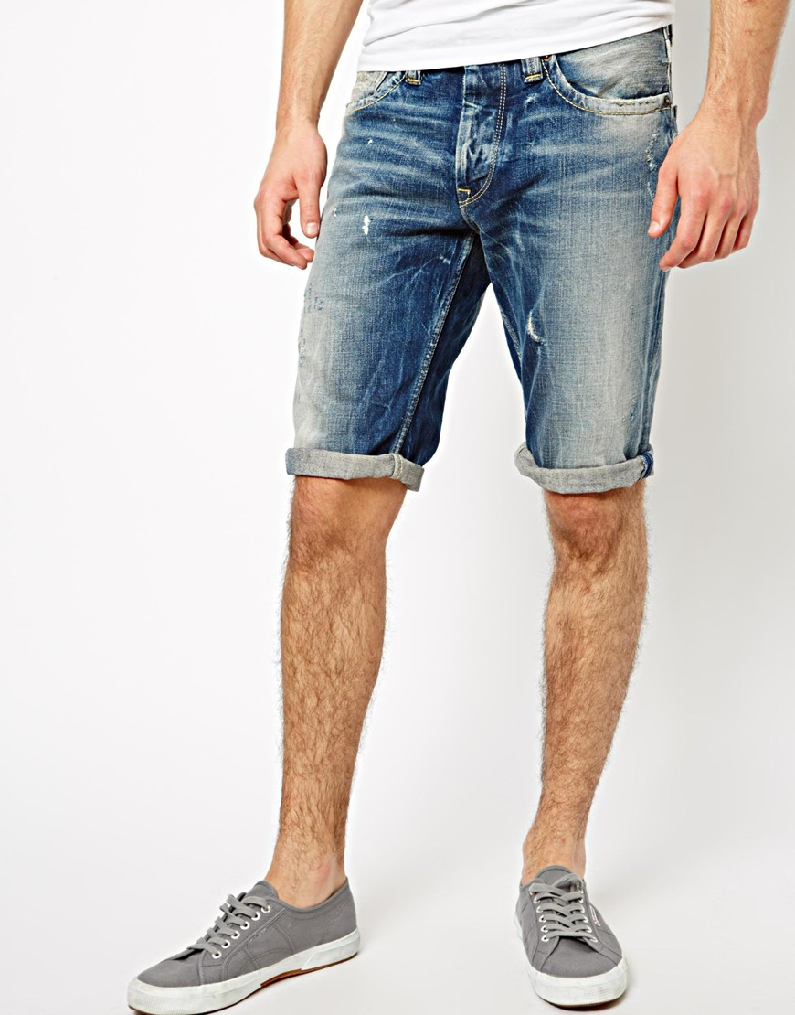 mens denim shorts pepe-denim-shorts-cash-straight-fit-dark-distressed JKWJJWK