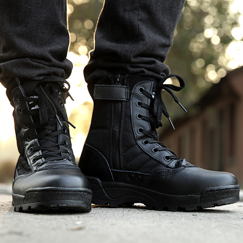 mens military boots 2017 new style retro combat boots winter england-style fashionable menu0027s  short black shoes military SYRKCVP