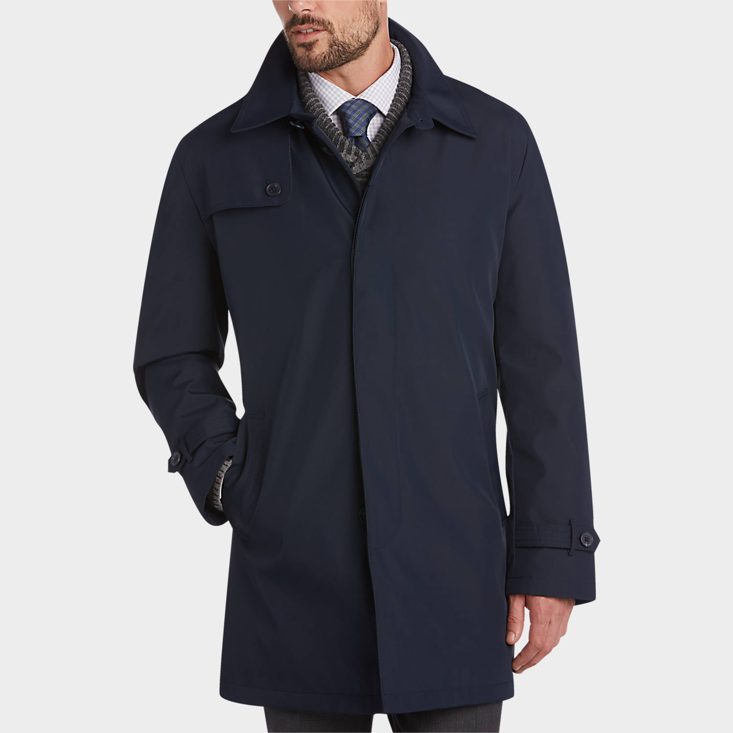 mens raincoat mens raincoats, outerwear - joseph abboud postman blue raincoat - menu0027s  wearhouse IJXIRKF