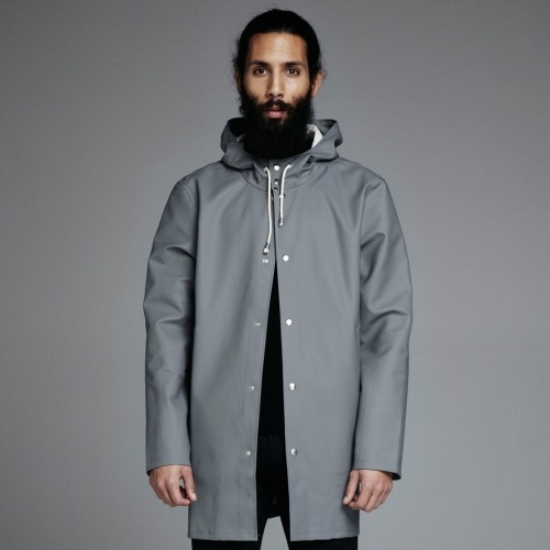 mens raincoat stockholm grå - grey raincoat - stutterheim raincoats hair beard tumblr WBEAJSA