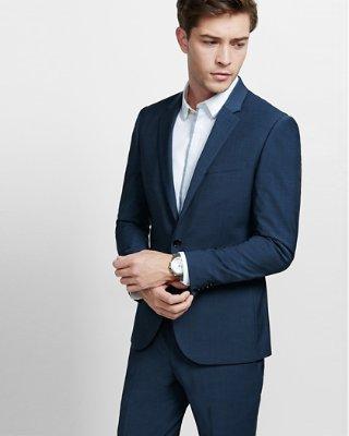 mens suit ... skinny innovator navy blue performance stretch wool blend suit jacket ENODUZM