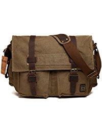 messenger bags for men menu0027s shoulder bag, berchirly vintage military men canvas messenger bag for  13.3-17.3 ATGNBQK