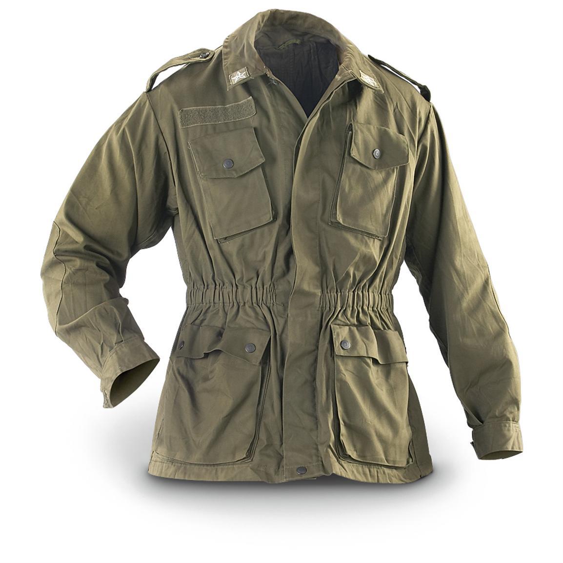 military jacket 2 used italian military combat jackets, olive drab XRDLYGC