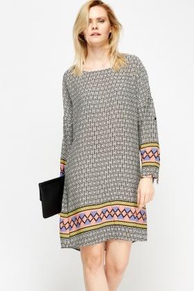 mixed print tunic dress ALVRHHD