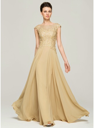 mother of the bride dresses a-line/princess scoop neck floor-length chiffon lace mother of the bride TIEKQHP