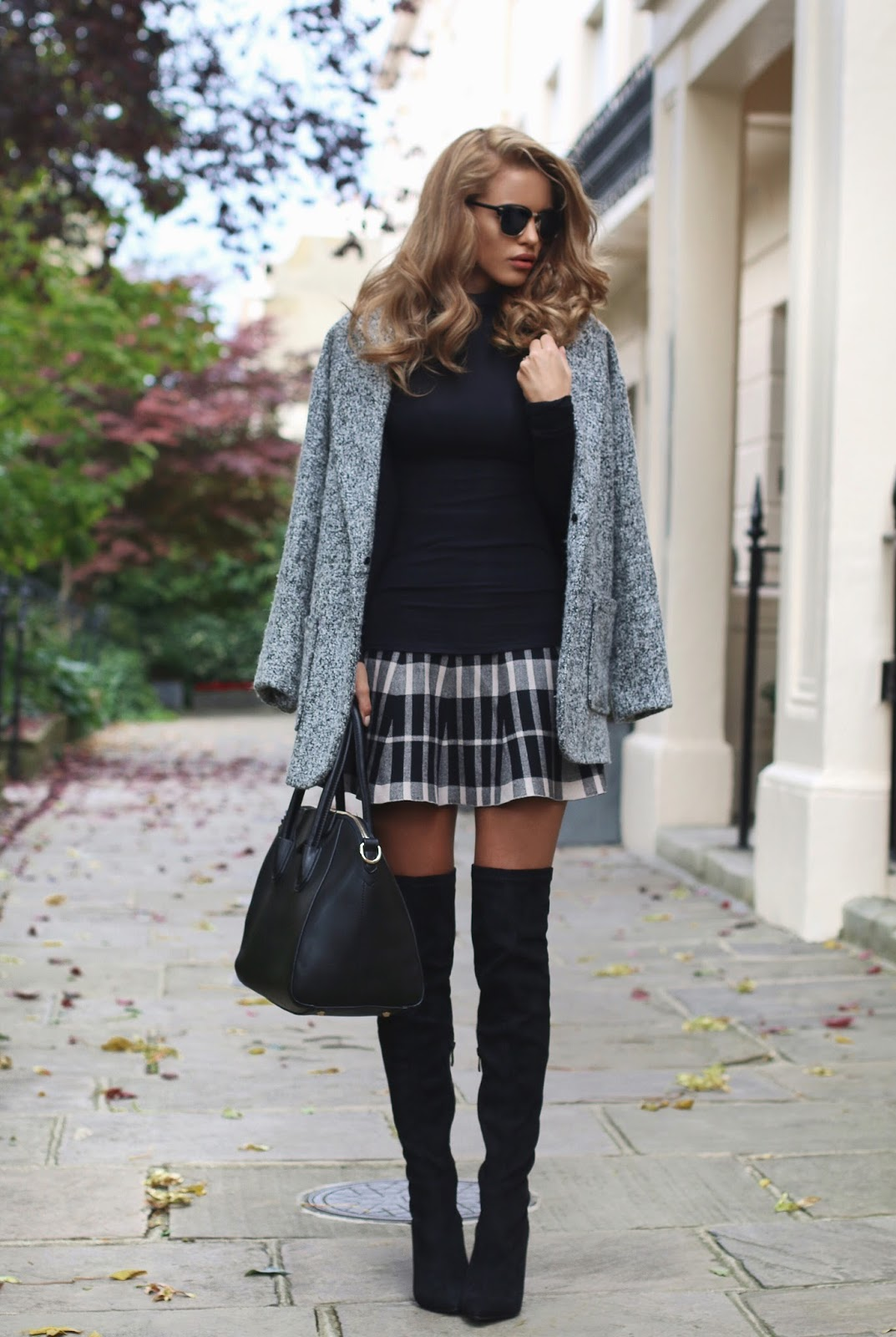 nada adelle wears patent over the knee boots with a cute tartan mini skirt EANDBZS