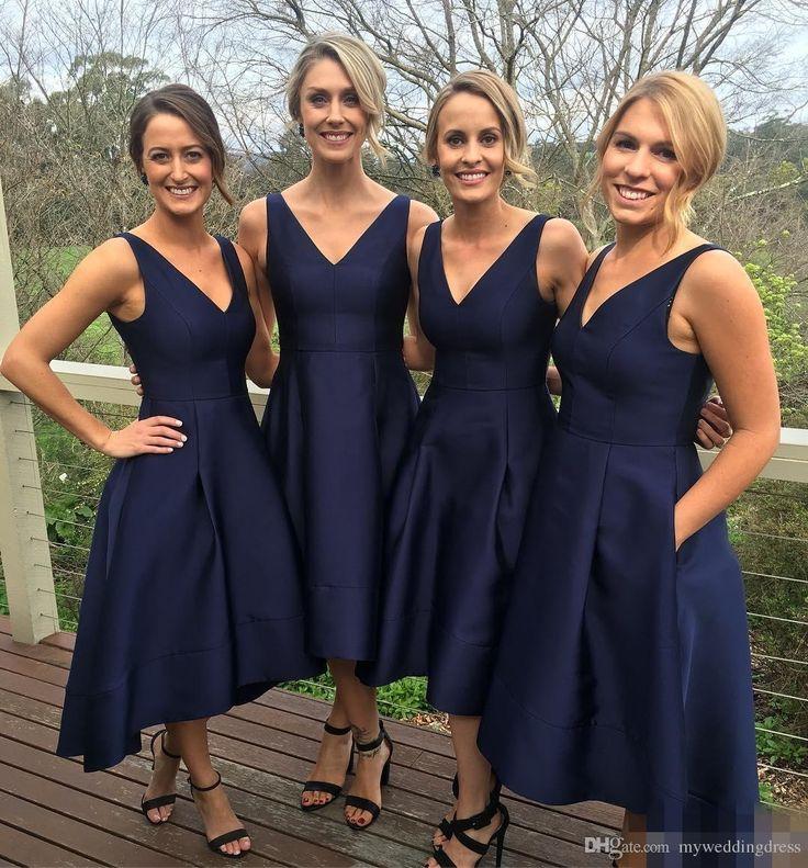 navy blue bridesmaid dresses 2017 garden short high low bridesmaid dresses with pockets navy blue cheap  v-neck pleats CEVPFQO