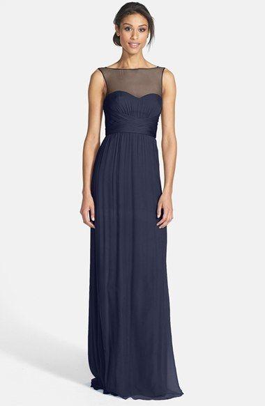 navy blue bridesmaid dresses long navy blue bridesmaidsu0027 dresses| amsale illusion yoke crinkled silk  chiffon gown YQBXTPP