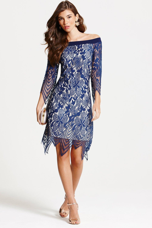navy lace bardot tunic dress ... XHONEYE