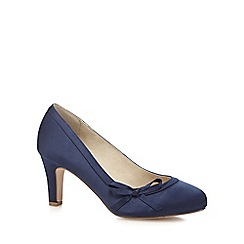 navy shoes debut - navy satin mid heel wide fit court shoes HHNRPEC