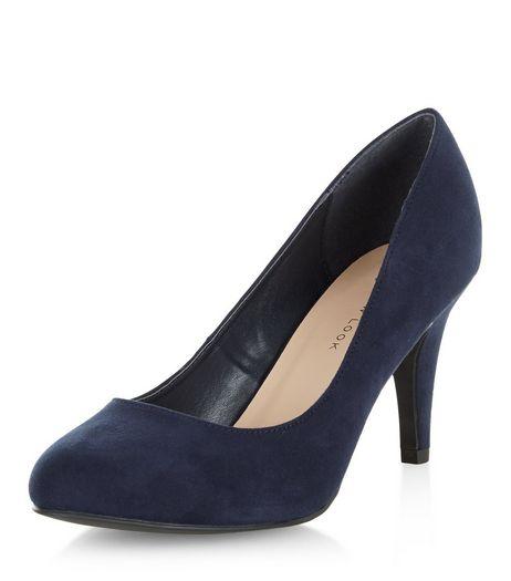 navy shoes wide fit navy mid heels | new look OXGXKPU