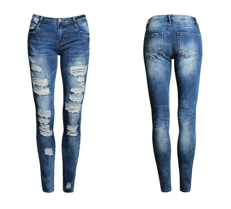 new 2016 hot fashion ladies pants stretch womens bleach ripped skinny jeans(china  (mainland RVPJRSA
