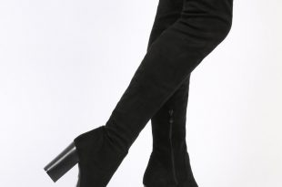 nina thigh high boots in black faux suede JQCWOYQ