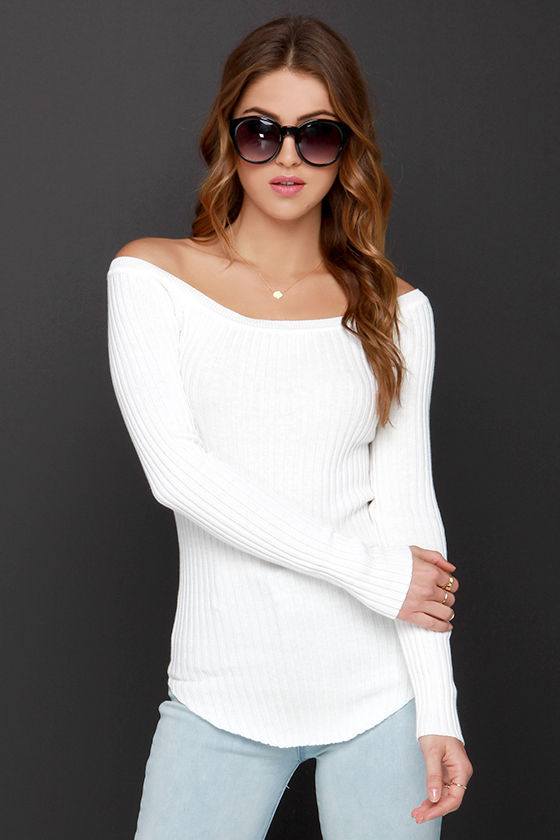 off the shoulder sweater cute ivory top - sweater top - off-the-shoulder top - $39.00 DEHAADQ