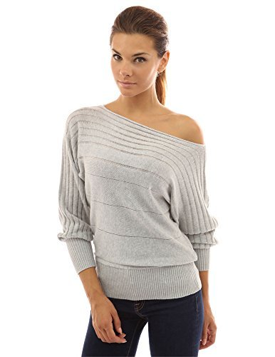 off the shoulder sweater pattyboutik womenu0027s on / off one shoulder semi-sheer sweater (light gray m) TTRDVBF