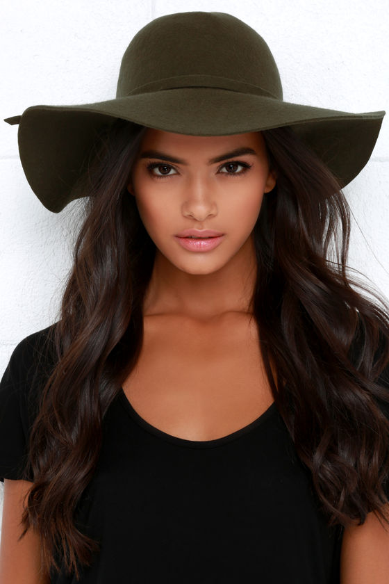 olive green hat - wool hat - floppy hat - $27.00 YJUUEEV