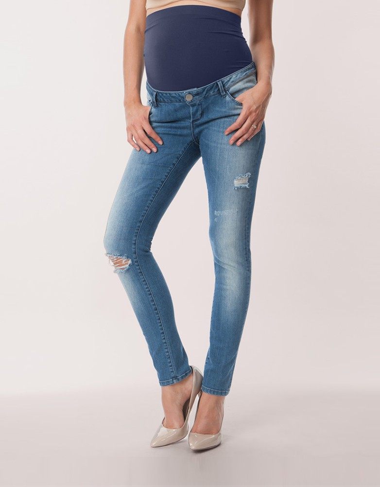 over-bump ripped skinny maternity jeans OZFRUDL