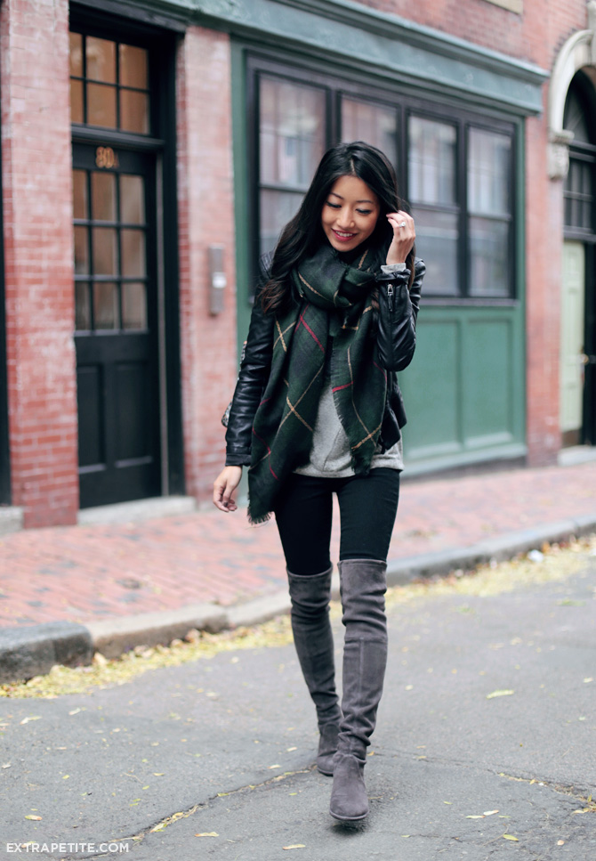 over the knee boots jean wang wears grey over the knee boot with an authentic tartan scarf and PMYJLCR