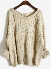 oversized sweaters apricot batwing long sleeve pullovers sweater - sheinside.com KHBGDUU