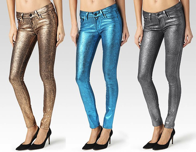 paige jeans new paige denim crackled foil metallic skinny jeans EDXNGUN