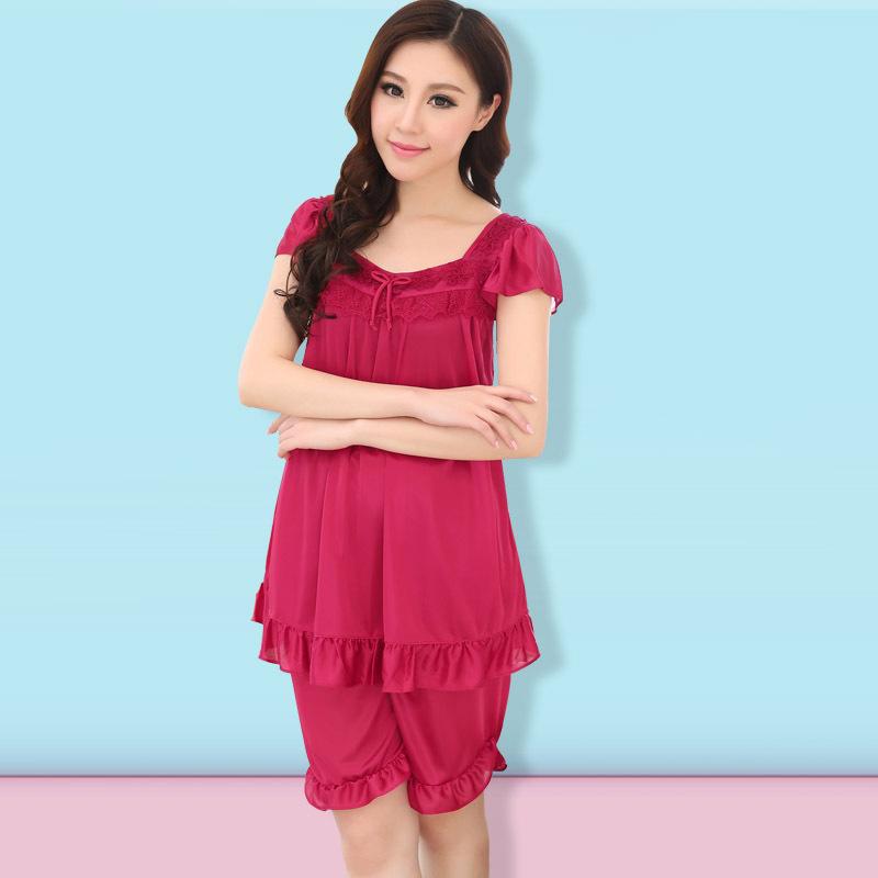 pajamas for women 2017 hot fashion womenu0027s casual short-sleeved silk pajamas women home  service package lace 6 CLPAXWK