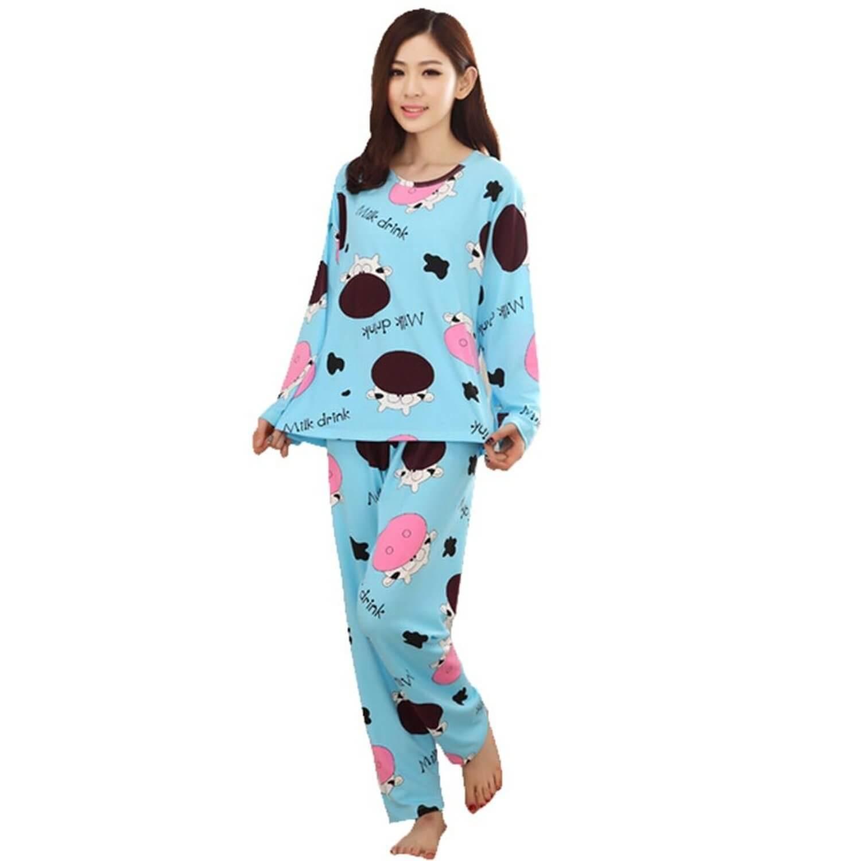 pajamas for women milk cow women long sleeve pajamas NYKRYTG