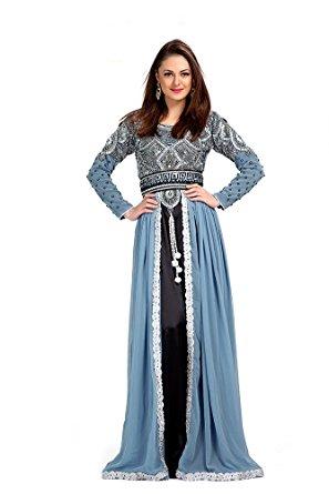 palasfashion womenu0027s hand embroidered moroccan kaftan dresses kkpf1053-6  gray uk size: 6 OYJVHIL